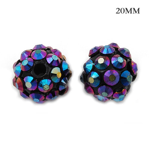 18*20 MM Round Resin Pave Beads,Black Base,Clear AB,Sold 20PCS Per Package
