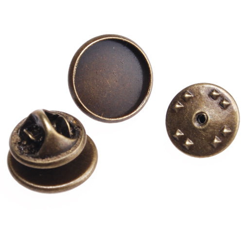 12mm Antique Bronze Plated Copper Cameo Brooch back,Tie Tac Clutch with 12mm Round Bezel Cup,sold 50pcs per pkg