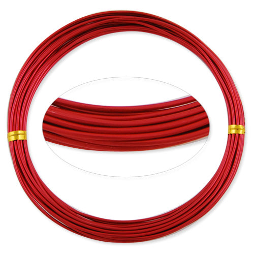 1.5MM Anodized Aluminum Wire,Red Coated, round,5M/coil,Sold Per 10 coils