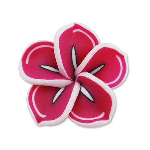 20MM HandMade And Flat Back Polymer Clay Flower,Fuchsia,Side Drilled Hole Size 2.5MM,Lead Free,Sold 100 PCS Per Package
