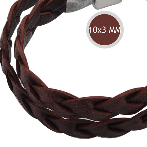 10*3mm Coffee Braided Leather Cord,Sold 10M/Roll