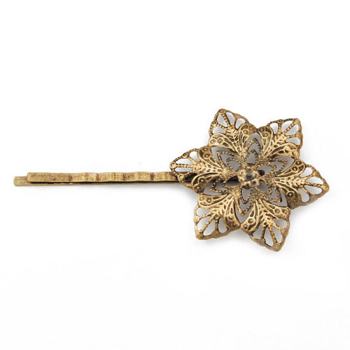 68*32mm Antique Bronze Bobby Pin With Round Filigree Wrap Pad,Sold per 100 PCS