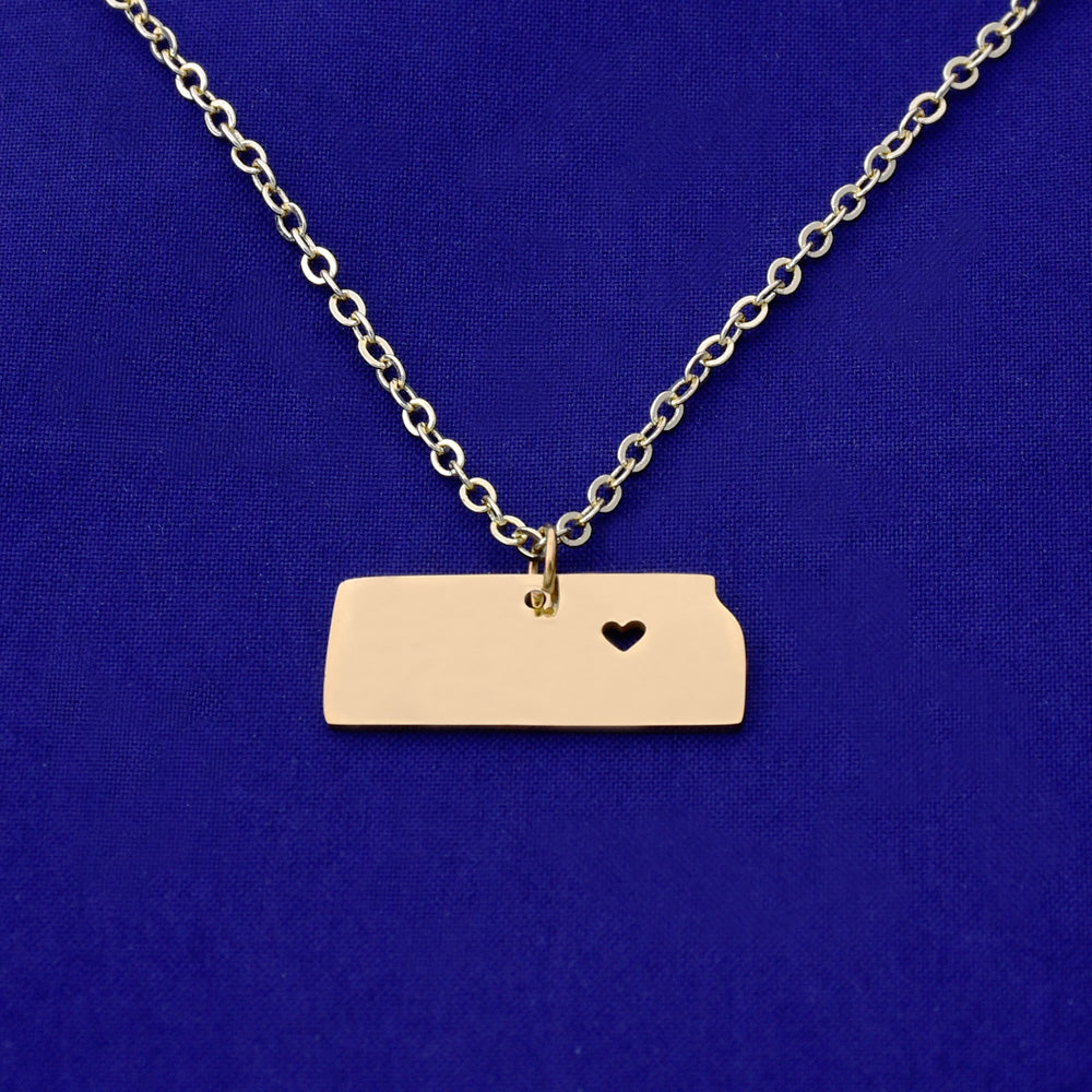 1 pcs about 25x10mm Rose Gold Stainless Steel pendant map necklace Stamping blank Jewelry supplies Kansas-KS 18 Gauges