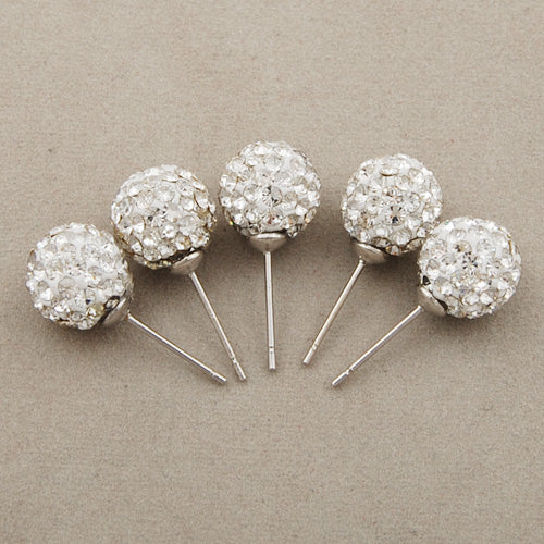 10mm Clear Pave Crystal Stud Earring,Clay Glue Base,Sold 10 PCS Per Package