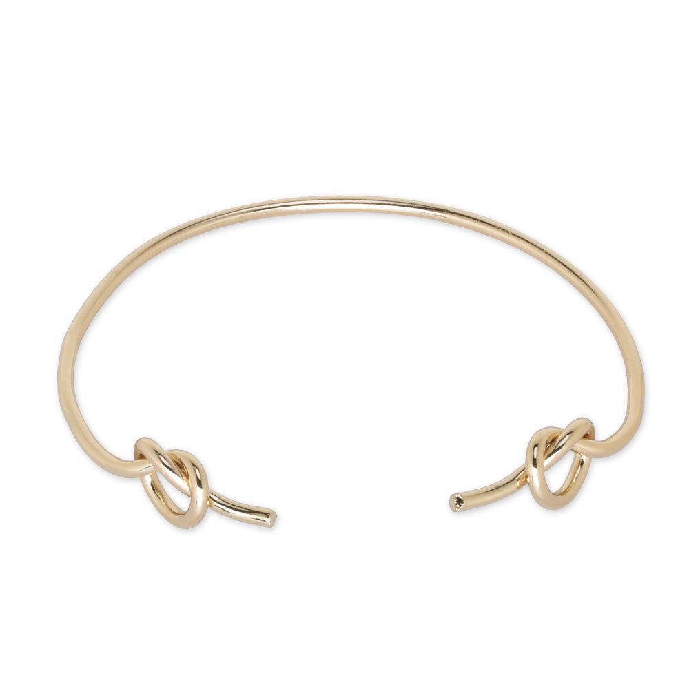 60mm Brass Bangle bracelet double knot bracelet Tie the Knot Bracelet Bridesmaid Gift simple jewelry plated gold 1pcs