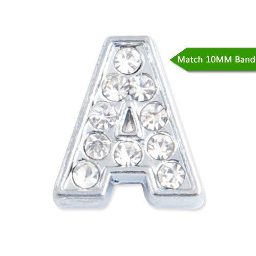 "10MM Letter ""A"" Slider Charms,Crystal Rhinestones Alphabets Beads,Silver Plated,Match 10mm Band or Slider Bracelet;sold 50pcs per pkg"