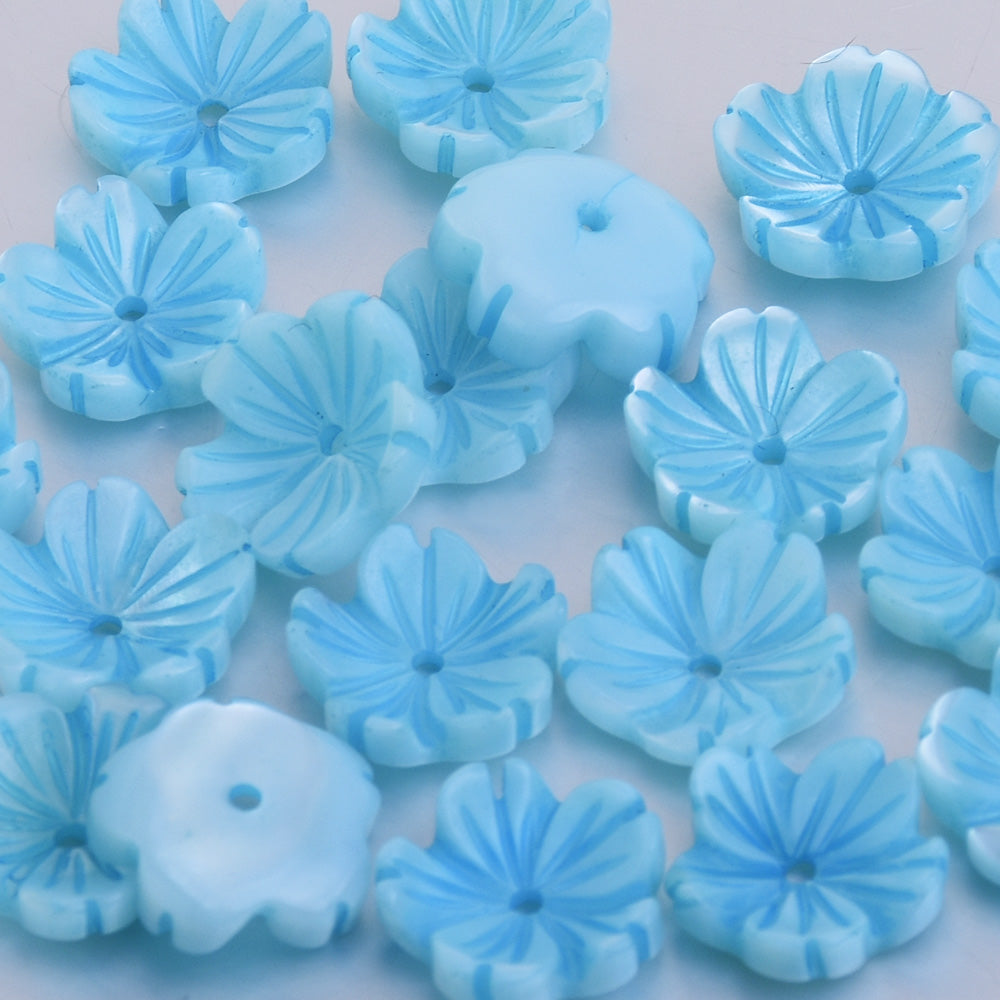 8mm Mother Pearl Shell Unique Shape Natural Shell Flowers Carved Shell Flower central hole 1mm Shell Jewelry Making Blue 10pcs