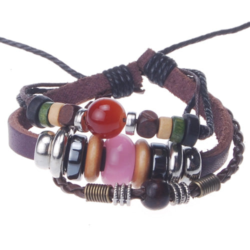 2013-2014 Summer hot sale promotional gifts Opal beaded hand-woven  leather bracelet,Deep Coffee,sold 10pcs per pkg