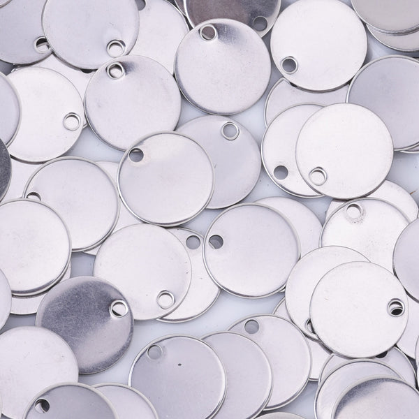 20 Silver Tone Stainless Steel Stamping Blank Tags Charms about 12mm Round Dics Tags Wholesale Diy Jewelry Findings