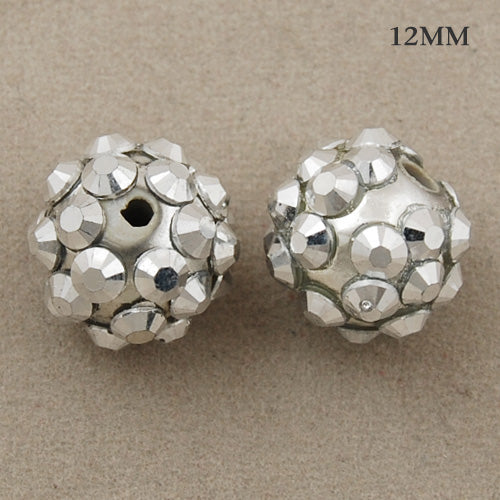 10*12 MM Round Resin Pave Beads,White Base,Clear AB,Sold 40PCS Per Package