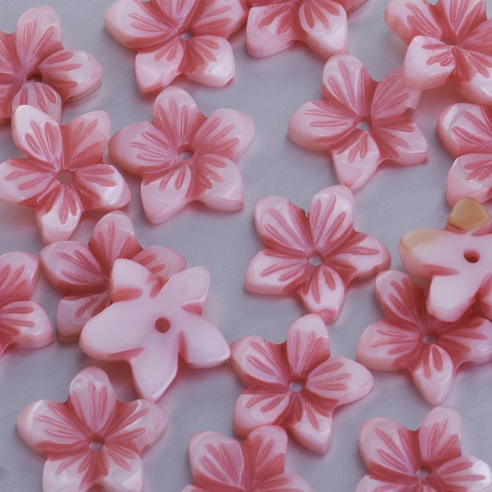 10mm Mother of Pearl Flower Carved Shell Unique Shape Flower Beads central hole 1mm diy jewelry supplies pink 10pcs