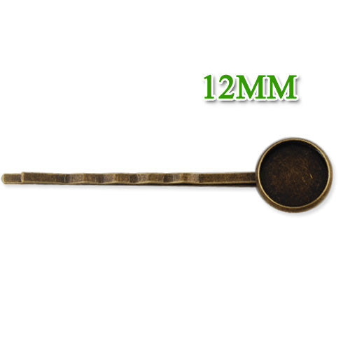 55*12MM Antique Bronze Plated Brass Bobby Pin With bezel,fit 12mm glass cabochon,sold 50pcs per package