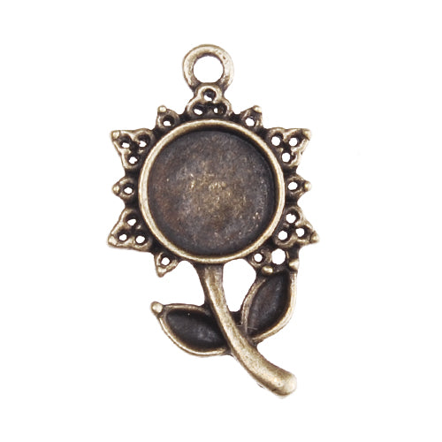 New Style10MM Antique Bronze Plated Flower Shape Zinc Alloy Cameo Cabochon Base Setting Pendants,fit 10mm round glass cabochon,sold 50pcs per pkg