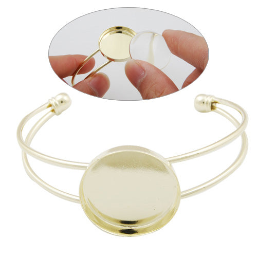 Bracelet With 25MM Round Setting,Cuff,Adjustable,14K Gold-Plated Brass,Lead Free And Nickel Free,Sold 10PCS Per Lot