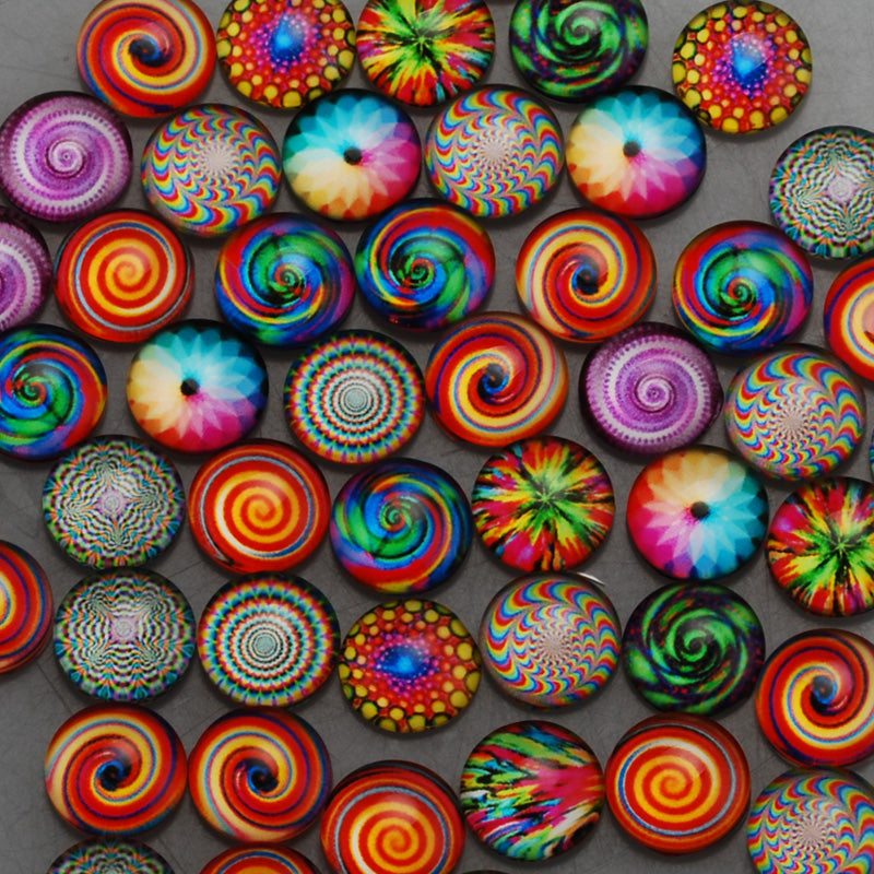 12mm Round glass cabochons,colorful Pattern glass cabochon,flat back,thickness 4.5mm,50 pieces/lot
