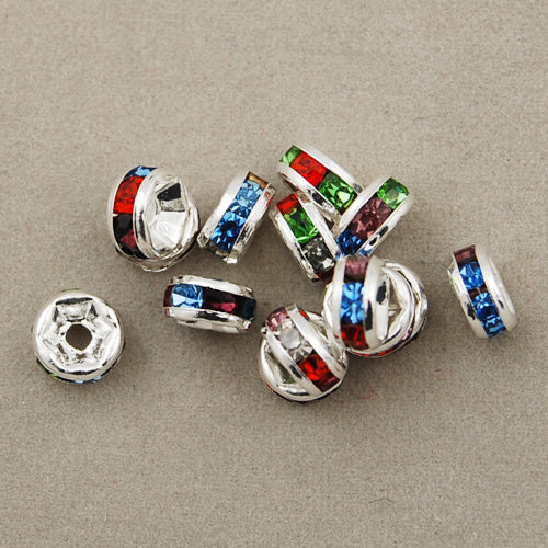 6MM Diameter Rhinestone Spacer Beads,Mixed Colors,Brass,Silver Plated,Thick About 3MM,Hole:About 1MM,Sold 100 PCS Per Package