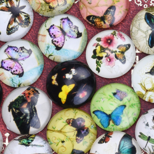 14MM Round glass cabochons with mixed Butterfly pattern,photo glass cabochons,flat back,thickness 5mm,50 pieces/lot