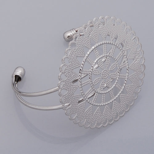 2013-2014 New Arrival Adjustable Copper  Bracelet with 55mm round Faceplate,Imitation Rhodium,Lead Free And Nickel Free,Sold 10PCS Per Lot