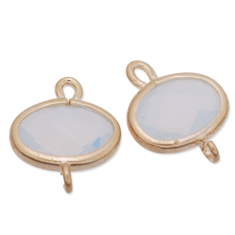 11x14mm matt gold plated framed glass,Faceted glass,white opal,connectors,gemstone bezel,Sold 5pcs/lot