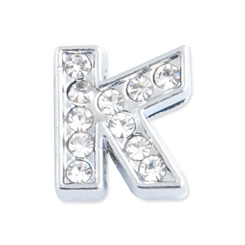 "12*11*5 MM Clear Crystal Rhinestone Letter ""K"" Slider Charm Beads,Hole Sizes:8*2 MM,Silver Plated,lead Free and Nickel Free,Sold 50 PCS Per Package"