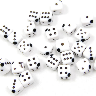 500 Grams 6.5*6.5MM   White Cube Number Beads Acrylic,About 2500PCS Per Pkg