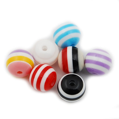 10 MM Bright and Colorful stripe Bead Round resin Beads,Hole Size 2.6mm,Sold 1000 PCS Per Package