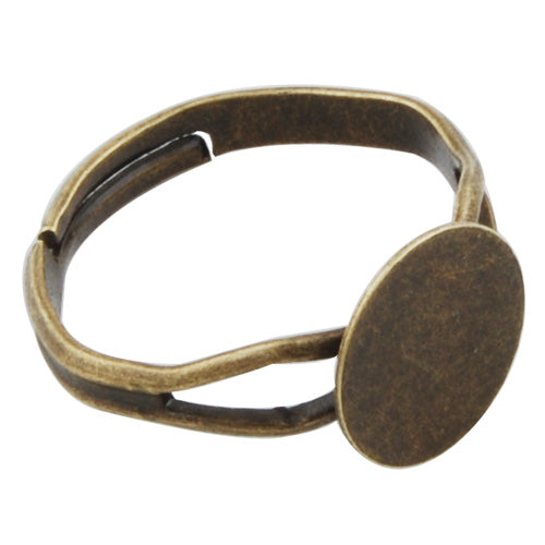 Antique Bronze plated Adjustable Ring Blanks Base With 10MM Blank Pad,Sold 50PCS Per Package