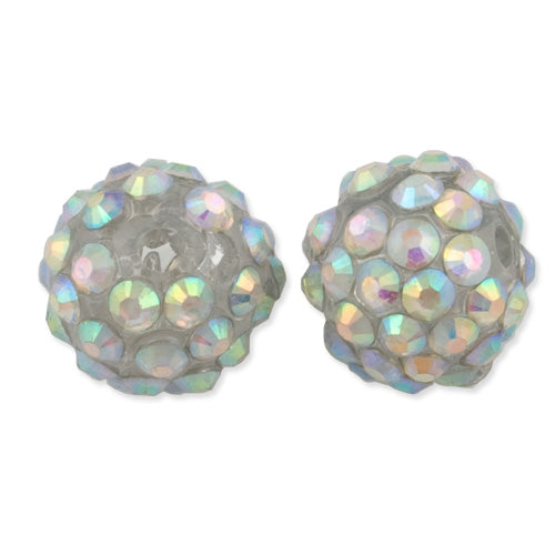 12*14 MM Round Resin Pave Beads,White  Base,Clear AB,Sold 50PCS Per Package