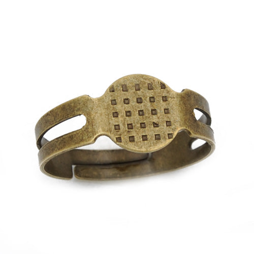 Antique Bronze, Adjustable Ring Blanks Base with 8mm pad ,Sold 100PCS  Per Lot