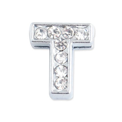 "12*10*5 MM Clear Crystal Rhinestone Letter ""T"" Slider Charm Beads,Hole Sizes:8*2 MM,Silver Plated,lead Free and Nickel Free,Sold 50 PCS Per Package"