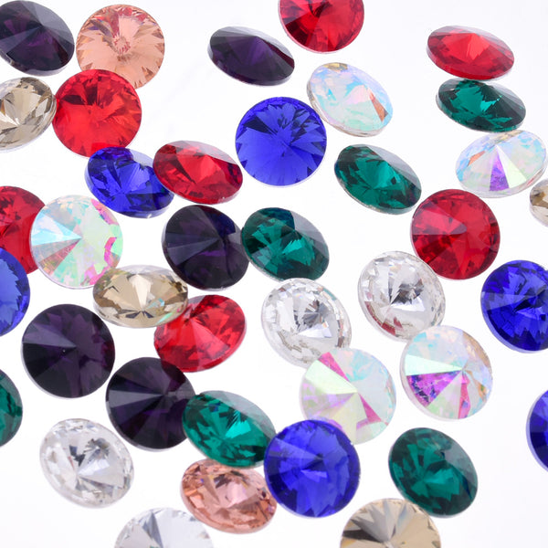 6mm Pointed Back Rhinestone glass crystals beads First Quality Crystal Handmade Satellite stone mixed color 50pcs 10181558
