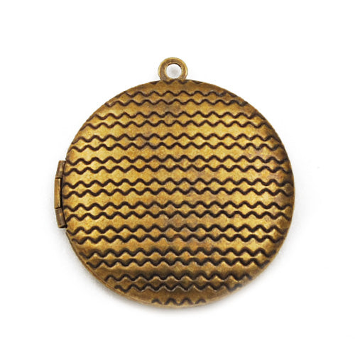32mm Antique Brass Round Lockets Pendant Victorian Style,Sold 20 pcs per pkg