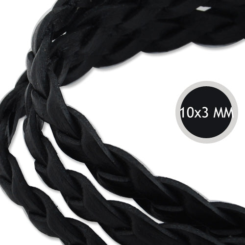 10*3mm Black Braided Leather Cord,Sold 10M/Roll