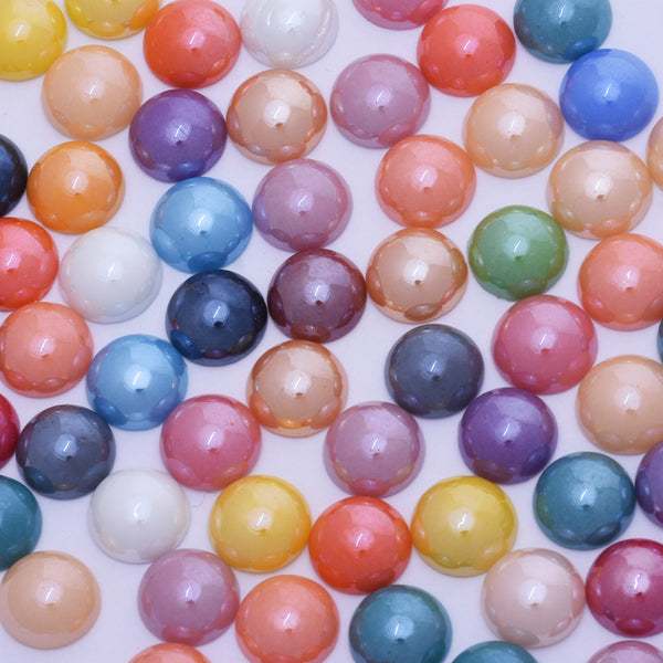 100 12mm Mix color Half Round Imitation Pearls Glass Jewelry Supplies Decoration Phone Garment Accessories Electroplate Plating