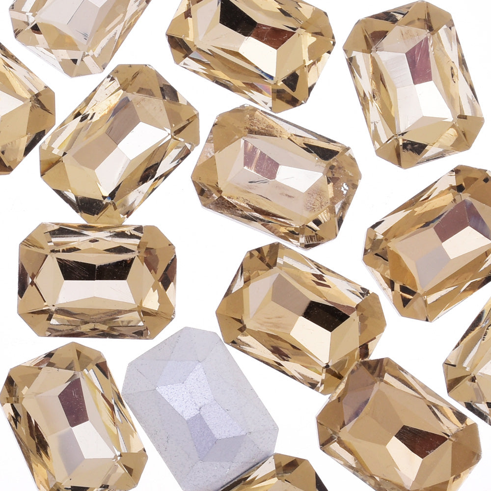 18x25mm Rectangle Pointed Back Rhinestones glass crystals beads wedding diy jewelry brown 50pcs 10183551