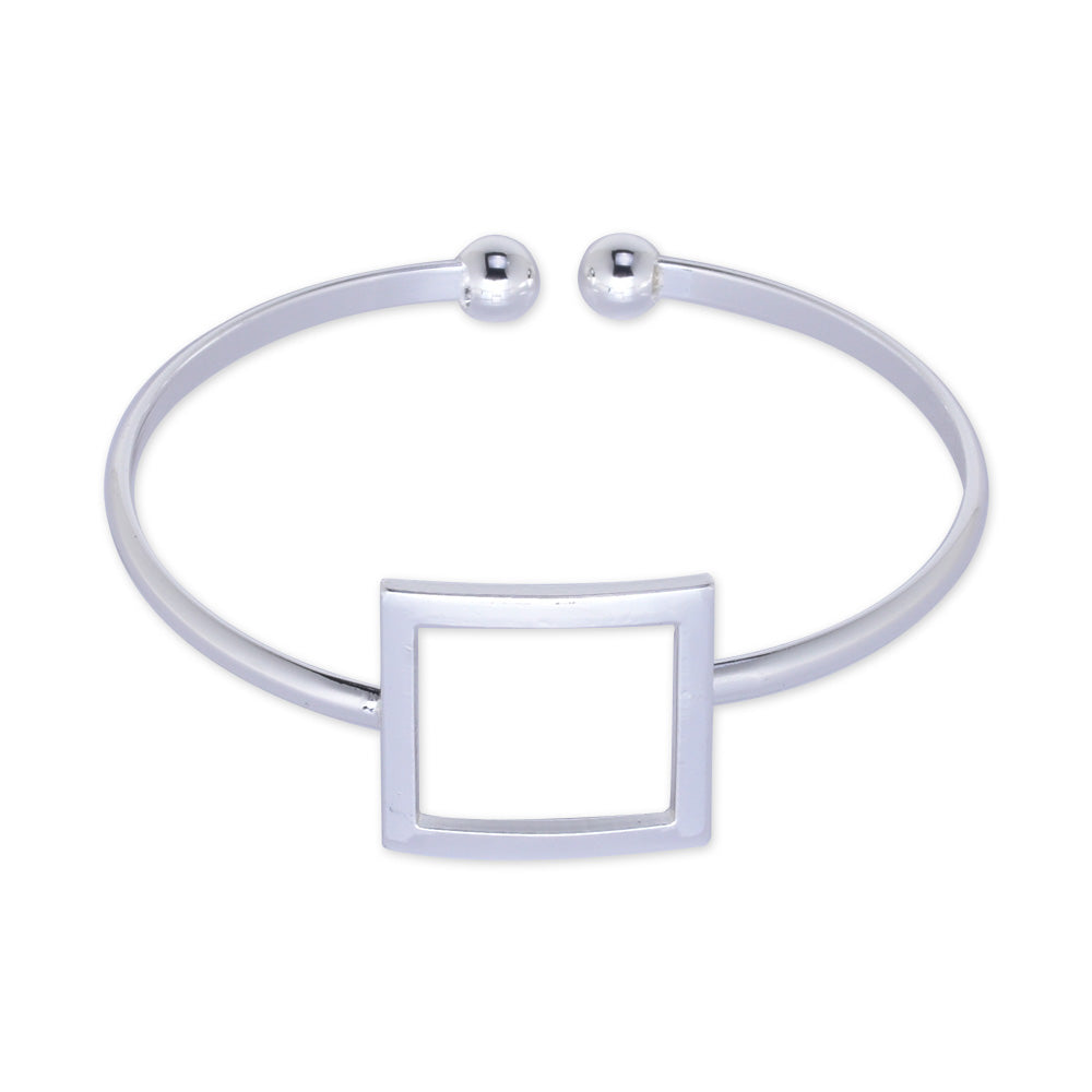 60mm Adjustable open Brass bracelet Bangle bracelet square bracelet women bracelet minimal jewelry plated silver 1pcs