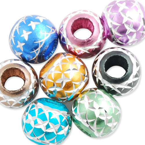 10MM Diameter Round Aluminum Bead,Mixed Colors,Carved,Hole Size:About 4.5MM,Sold 100 PCS Per Package