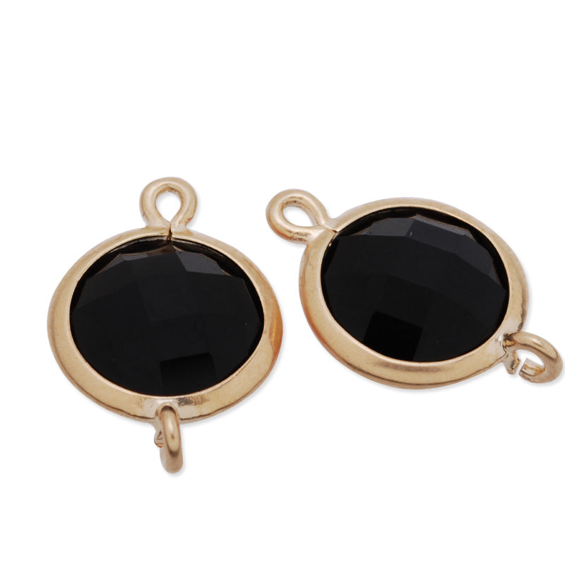 11.5x17mm matt gold plated framed glass,Faceted glass,black,connectors,gemstone bezel,Sold 5pcs/lot