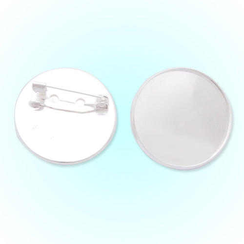 25mm Silver Plated Copper Cameo Brooch back,Tie Tac Clutch with 25mm Round Bezel Cup,fit 25mm glass cabochon,sold 50pcs per pkg