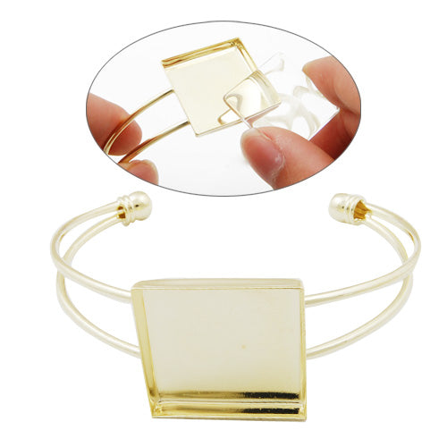 Bracelet With 25*25MM Square Setting,Cuff,Adjustable,14K Gold-Plated Brass,Lead Free And Nickel Free,Sold 10PCS Per Lot