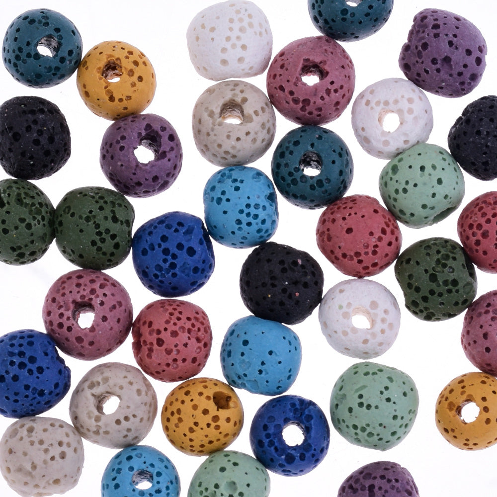 Round Lava Beads Earrings Bracelet Necklace Accessories 8mm 1.2mm hole mixed color 50pcs/lot