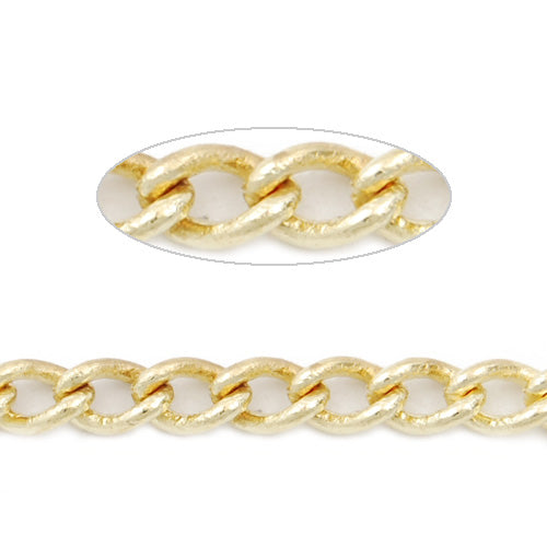 4.8MM*3.2MM Brass 14K Gold Plated Twist Oval Chain,Handmade,Sold 25 Meters Per Roll