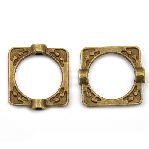 16*14mm Vintage antique bronze Zinc alloy beads,square,sold 200 pcs per pkg