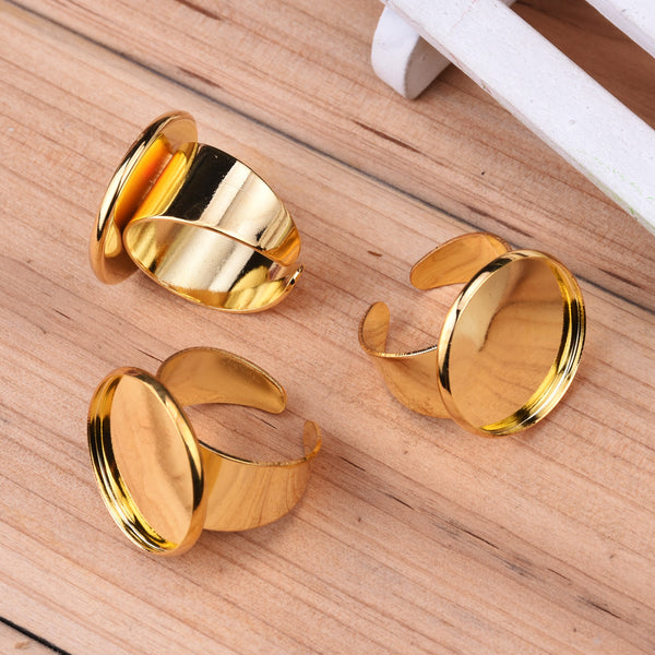 20mm Round Adjustable Shallow bottom Gold plated Ring Base Setting Pendants With20 MM round Pad,Sold 20PCS Per Package