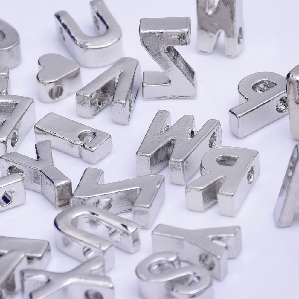 "Nickel Alloy Letter Pendant Charm Capital letter Metal letter Finding Letter Initial Pendants for Personalize Necklaces "" T "" 10*6.5*3.5mm 10pcs"