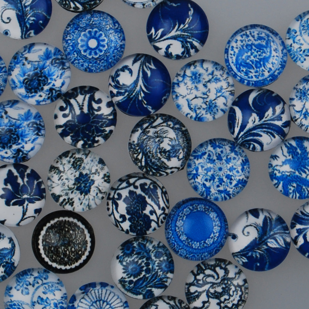10MM Round glass cabochons,Mix Blue and white porcelain pattern glass cabochons,flat back,thickness 4mm,50 pieces/lot