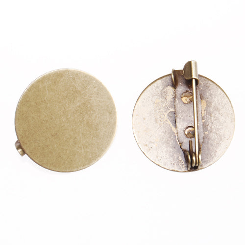 20mm Antique Bronze Plated Copper Flat Brooch base,with 20mm Round flat base,sold 50pcs per pkg