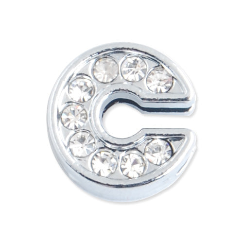 "12*5 MM Clear Crystal Rhinestone Letter ""C"" Slider Charm Beads,Hole Sizes:8*2 MM,Silver Plated,lead Free and Nickel Free,Sold 50 PCS Per Package"