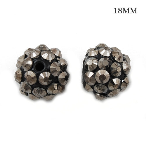 16*18 MM Round Resin Pave Beads,Black Base,Clear AB,Sold 50PCS Per Package