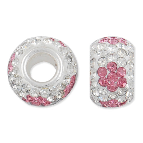 12*7 MM High Quality Round Pink-Crystal Pave Crystal Beads,Skyeye,Brass Hole,Hole Size 4.3MM,Sold 5 PCS Per Package